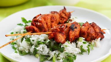 Tandoori chicken skewers with coconut bananas