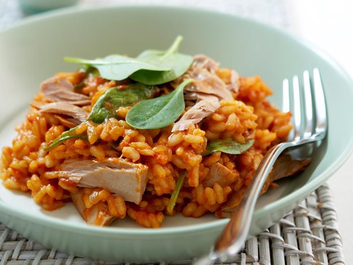 "**[Tuna and tomato risotto](https://www.womensweeklyfood.com.au/recipes/tuna-and-tomato-risotto-18039|target=""_blank"")**"
