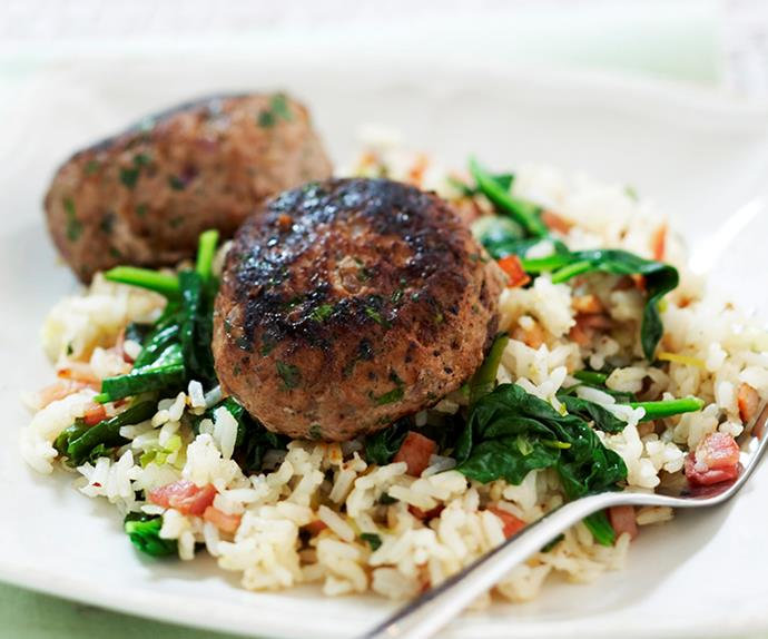 turkey rissoles with spinach rice