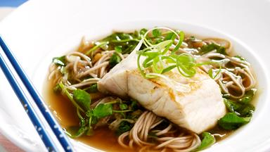 Watercress soba noodle soup with pan-fried fish