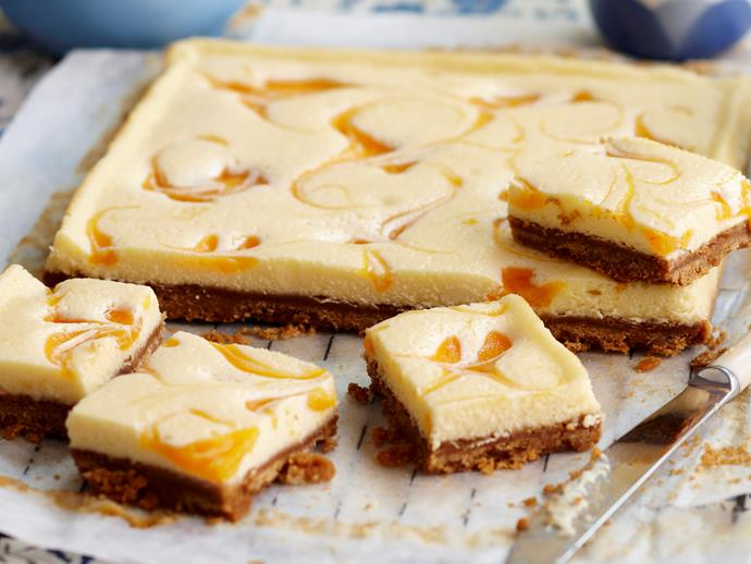 """**[Apricot cheesecake slice](https://www.womensweeklyfood.com.au/recipes/apricot-cheesecake-slice-27408