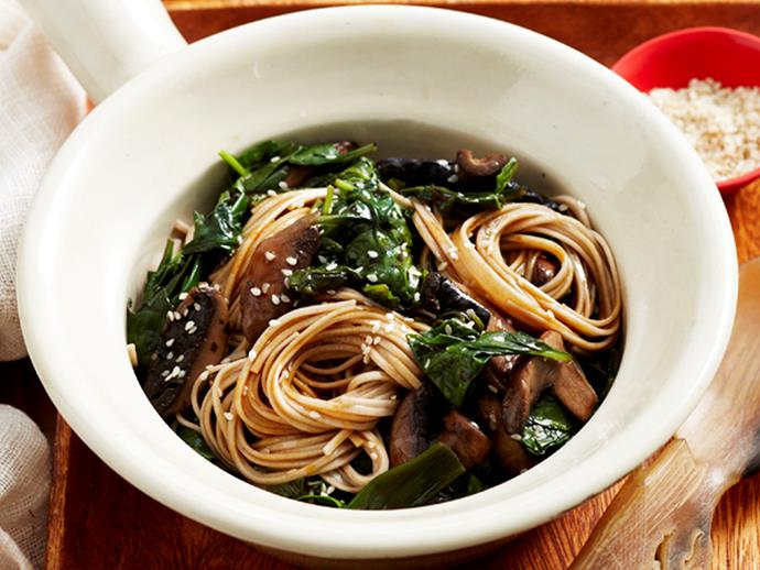 "**[Asian spinach noodles](https://www.womensweeklyfood.com.au/recipes/asian-spinach-noodles-25981|target=""_blank"")**  Perfect as a light vegetarian dinner or a delicious side for a larger Asian banquet, this warm and flavour-packed spinach and mushroom noodle dish is super tasty."