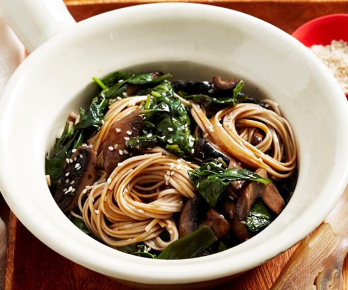 Asian spinach noodles