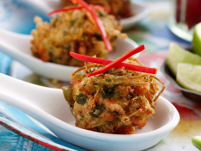"**[Asian vegetable fritters](https://www.womensweeklyfood.com.au/recipes/asian-vegetable-fritters-25982|target=""_blank"")**  Packed full of vegetables, these golden, crunchy Asian fritters are the perfect finger food or starter for your next dinner party - beautiful served drizzled with fresh lime juice."