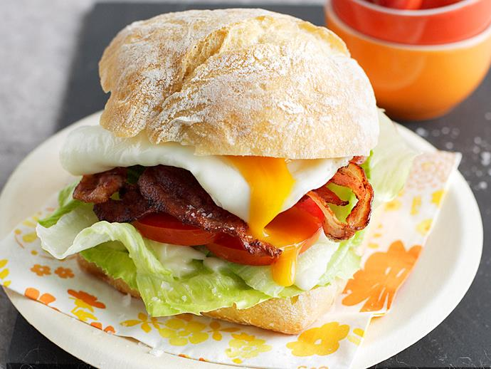"**[Bacon and egg burger](https://www.womensweeklyfood.com.au/recipes/bacon-and-egg-burger-18102|target=""_blank"")** This bacon and egg burger can be eaten for breakfast or lunch or whenever you like!"