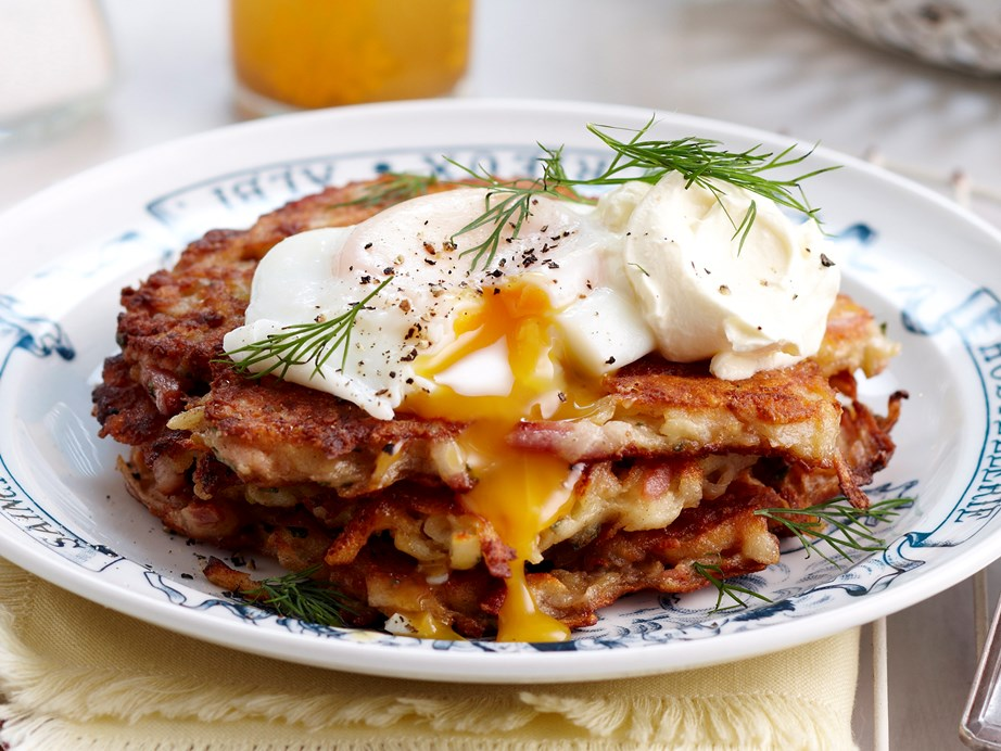 "**[Potato and bacon fritters](https://www.womensweeklyfood.com.au/recipes/bacon-and-potato-fritters-18103|target=""_blank"")** Crispy, salty and filling, these delicious bacon and potato fritters make a tasty breakfast, lunch or dinner dish, especially when topped with a dollop of sour cream, fresh herbs and runny poached eggs."
