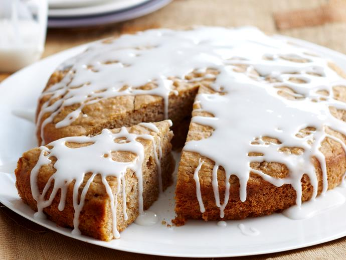"""Drizzled with sweet, lemony icing, this **[gluten free banana and almond cake](https://www.womensweeklyfood.com.au/recipes/banana-almond-cake-18133