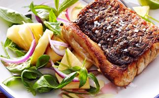 Barramundi with pineapple salad
