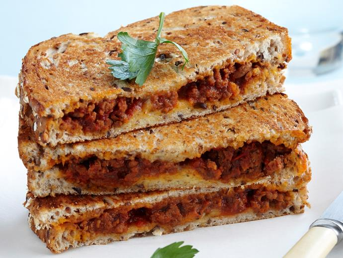 """**[Bolognese and egg jaffles](https://www.womensweeklyfood.com.au/recipes/bolognese-and-egg-jaffles-18185