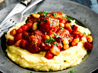 braised meatballs with white beans