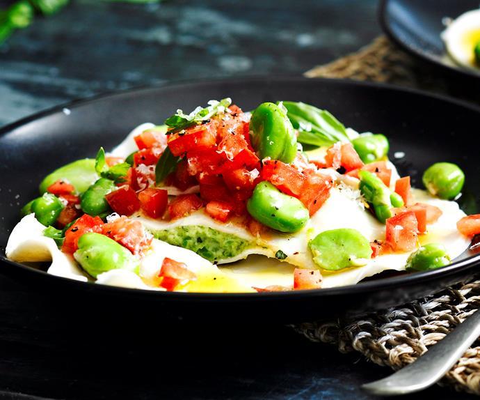 Broad bean and parmesan ravioli