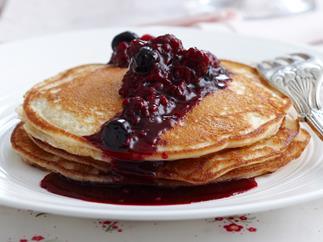Buttermilk pancakes with maple berries