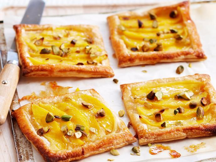 "**[Caramelised mango tarts](https://www.womensweeklyfood.com.au/recipes/caramalised-mango-tarts-18228 target=""_blank"")**"