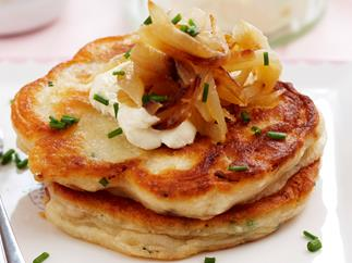 Caramelised onion and bacon pikelets