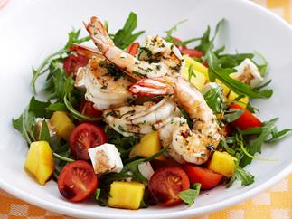 Char-grilled prawn, mango and feta salad