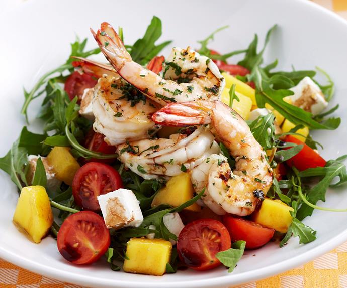 Char-grilled prawn, mango and feta salad