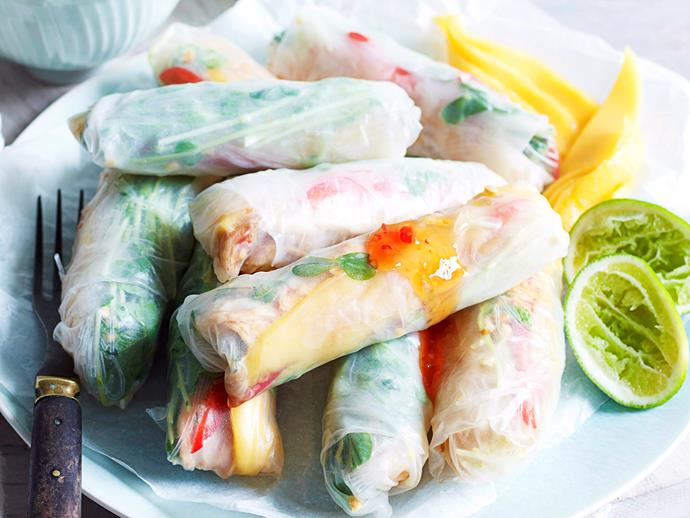 "Enjoy these light, refreshing [chicken and mango rice paper rolls](https://www.womensweeklyfood.com.au/recipes/chicken-and-mango-rice-paper-rolls-28055|target=""_blank"") on a warm summer's afternoon. A Vietnamese classic, the rolls are wonderful served as finger food with a zesty chilli lime dipping sauce."