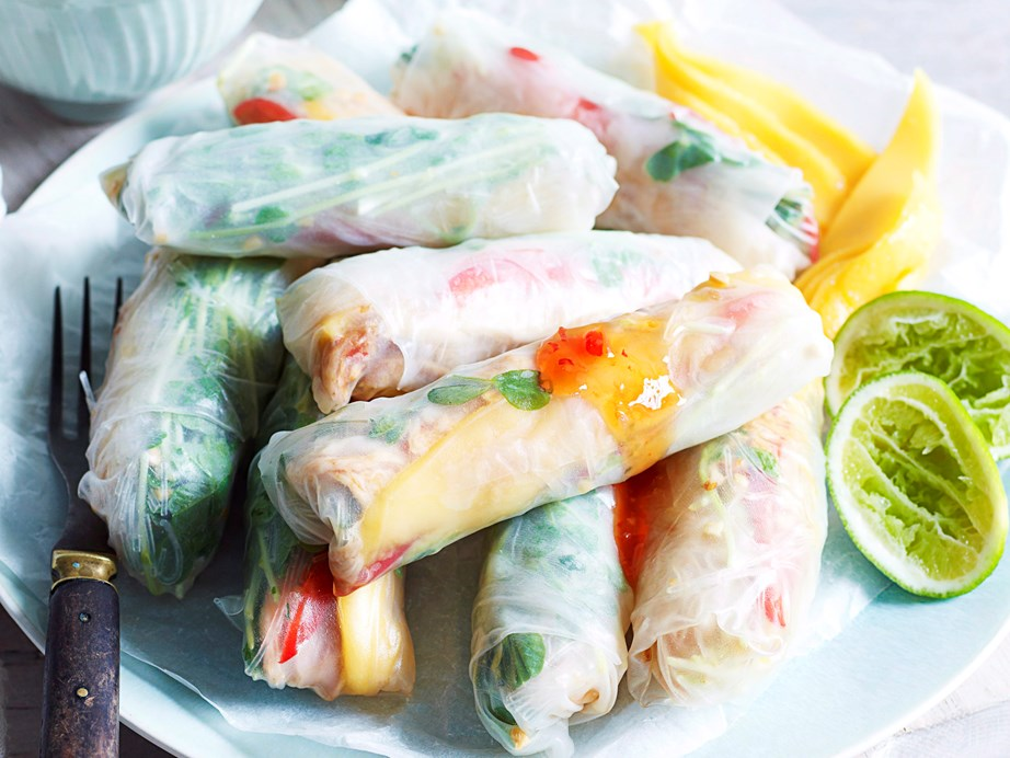 "**[Chicken and mango rice paper rolls](https://www.womensweeklyfood.com.au/recipes/chicken-and-mango-rice-paper-rolls-28055|target=""_blank"")** <br><br> Enjoy these light, refreshing chicken and mango rice paper rolls on a warm summer's afternoon. A Vietnamese classic, the rolls are wonderful served as finger food with a zesty chilli lime dipping sauce."