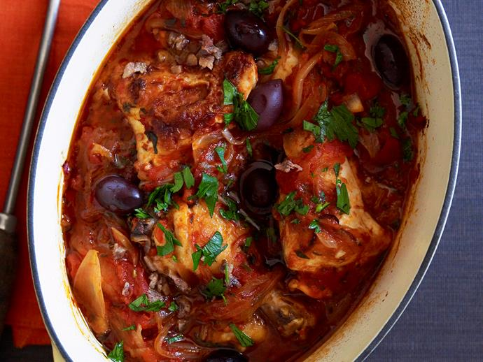 """**[Baked chicken cacciatore](https://www.womensweeklyfood.com.au/recipes/baked-chicken-cacciatore-26006