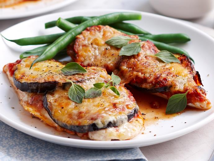 "[Chicken and eggplant parmigiana recipe.](https://www.womensweeklyfood.com.au/recipes/chicken-and-eggplant-parmigiana-17664|target=""_blank"")"