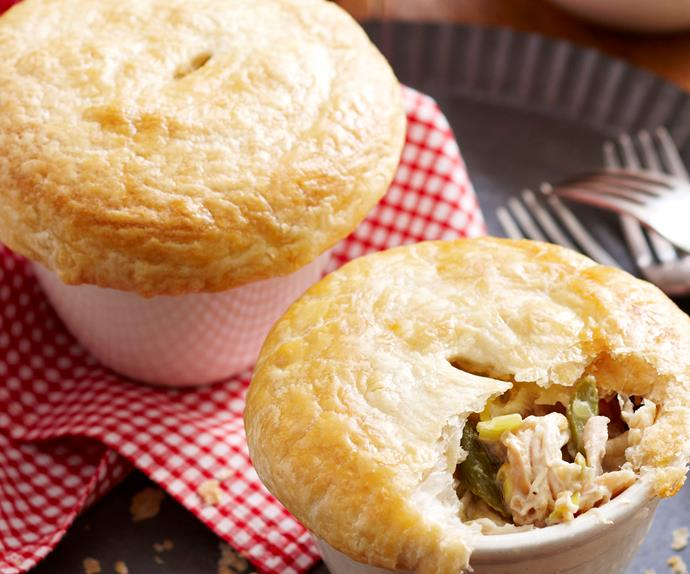 Chicken, asparagus and leek pot pies