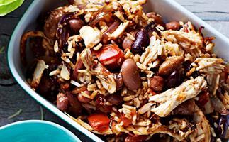 Chicken, rice and bean burritos