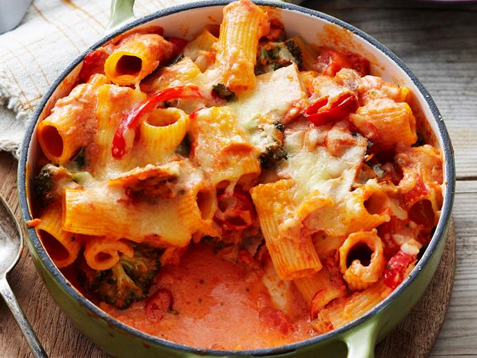 """Hearty, warming and packed full of flavour, this [tuna pasta bake](https://www.womensweeklyfood.com.au/recipes/chilli-tuna-pasta-bake-27783 target=""""_blank"""") is cooked with a spicy tomato-chilli sauce and topped with oozy melted cheese to create the ultimate comfort food for a tasty Winter dinner dish."""