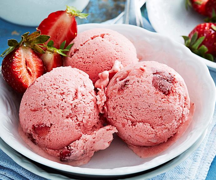Chunky strawberry ice-cream