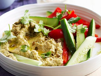 Coriander hummus with pepitas