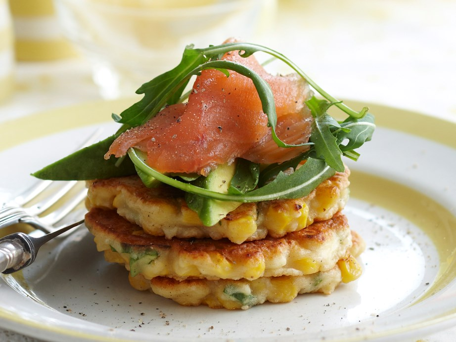 "**[Corn and ricotta fritters](https://www.womensweeklyfood.com.au/recipes/corn-and-ricotta-fritters-26018|target=""_blank"")** Crispy and golden, these tasty fritters made with sweet, juicy corn and creamy ricotta are beautiful served topped with smoked salmon and avocado for a relaxed weekend breakfast or brunch."