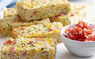 Corn, bacon and zucchini rice slice