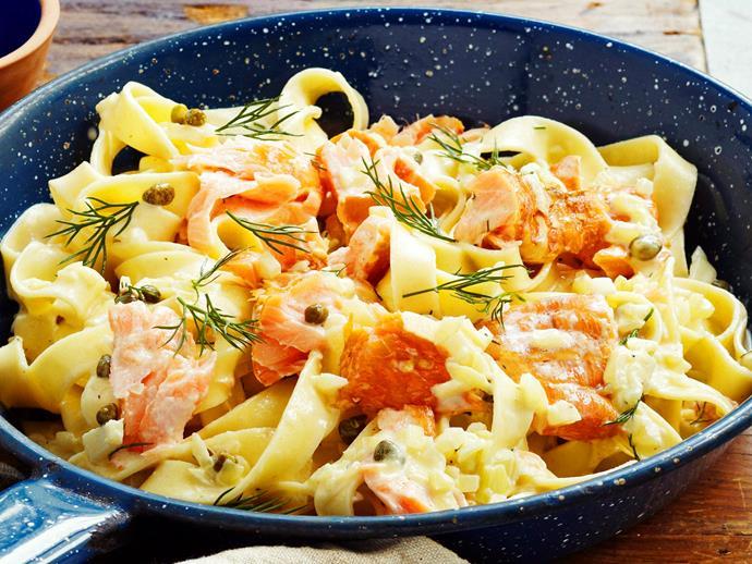 "**[Creamy hot-smoked salmon fettuccine](https://www.womensweeklyfood.com.au/recipes/creamy-hot-smoked-salmon-fettuccine-17810|target=""_blank"")**"