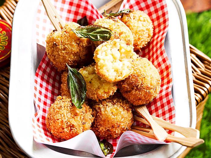 "**[Crispy arancini balls](https://www.womensweeklyfood.com.au/recipes/arancini-6818|target=""_blank"")**"