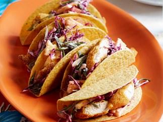 Crispy polenta chicken tacos