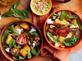 Crispy Polenta, tomato and rocket salad