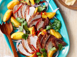 Curried chicken and peach salad
