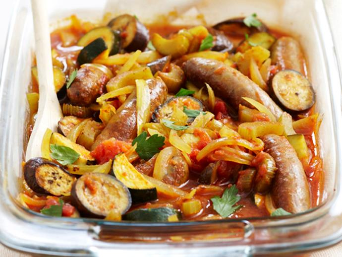 """**[Curried sausage and vegetable bake](https://www.womensweeklyfood.com.au/recipes/curried-sausage-and-vegetable-bake-17843