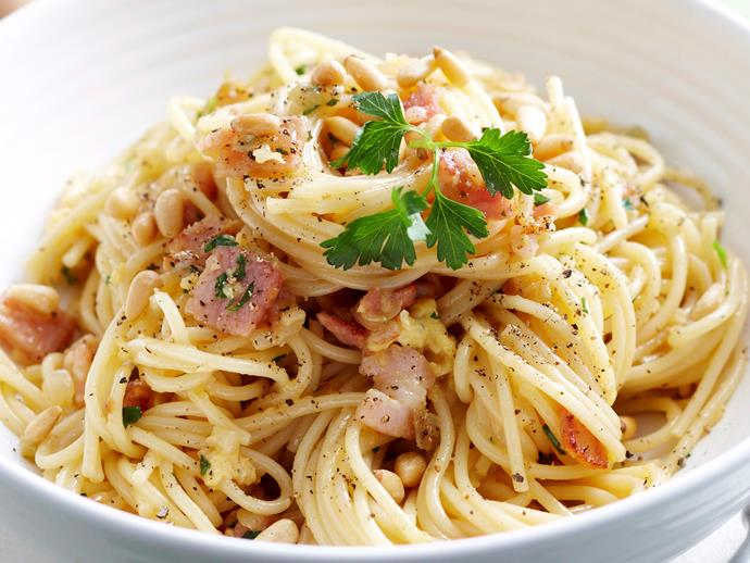 "[Dairy-free carbonara](http://www.foodtolove.com.au/recipes/dairy-free-carbonara-13201|target=""_blank"")  *Dairy-free - could be gluten-free with gluten-free pasta and bacon*"