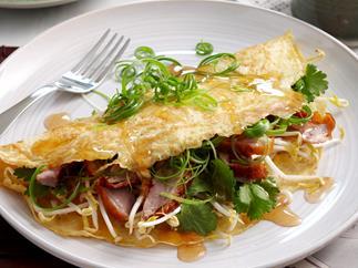 Duck, bean shoot and coriander omelette