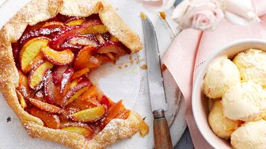 Freeform peach, plum and apricot pie