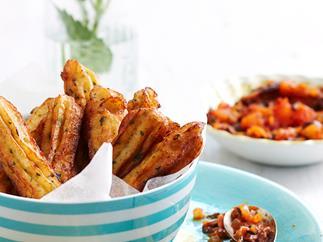 Fried potato sticks with salsa
