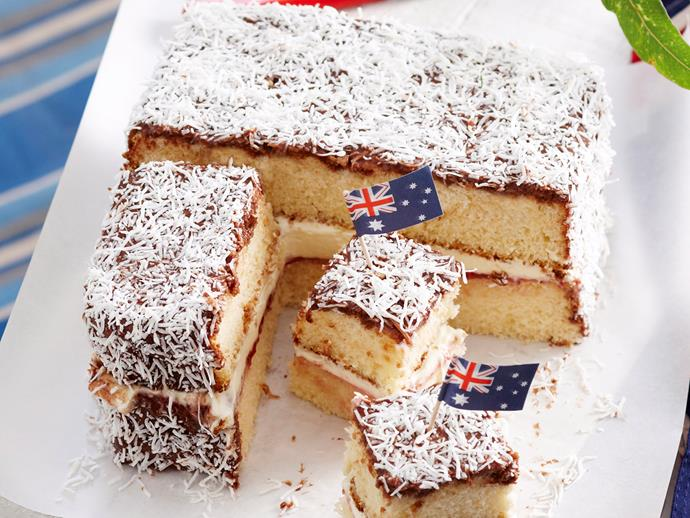 "**[Giant lamington](https://www.womensweeklyfood.com.au/recipes/giant-lamington-27963|target=""_blank"")**  The humble lamington is one of Australia's most well-loved desserts. This version creates a jumbo version of the tasty chocolate and coconut sponge, and stuffs it with fresh whipped cream and raspberry jam to produce a wonderfully sweet cake."