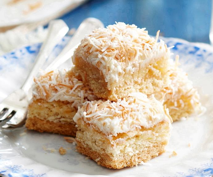 Ginger, coconut and pineapple slice