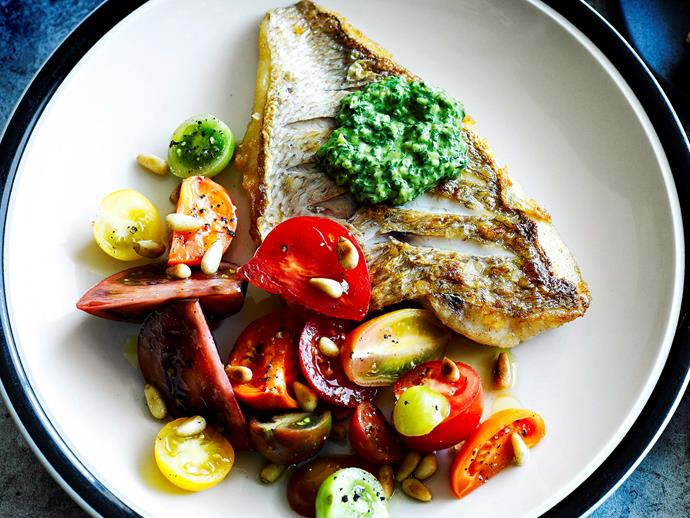 """Enjoy this tasty, succulent [grilled fish with a zesty salsa verde](https://www.womensweeklyfood.com.au/recipes/grilled-fish-with-salsa-verde-29085 target=""""_blank"""") for dinner tonight - perfect for the whole family."""