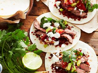 Grilled steak and chorizo tacos
