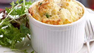 Ham and cheese souffle