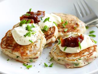 Ham and chive fritters