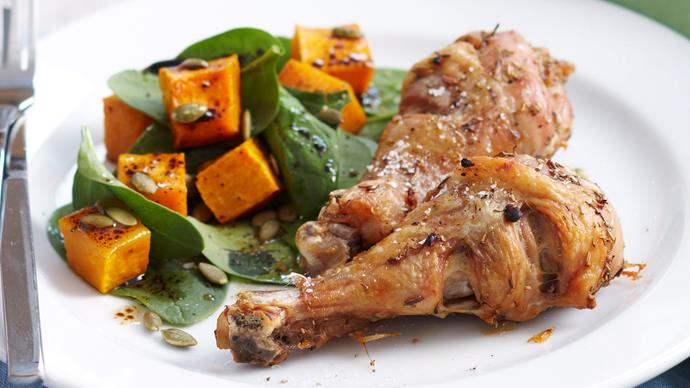 Herb roasted chicken with pumpkin salad