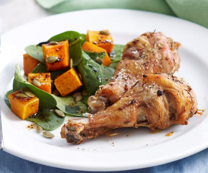Herb roasted chicken with pumpkin salad