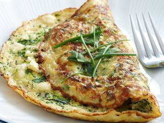 Herb, zucchini and feta omelette